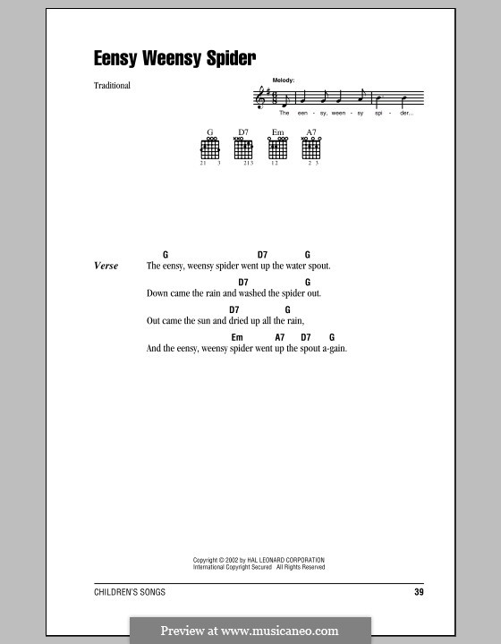 Eensy Weensy Spider: Lyrics and chords (with chord boxes) by folklore