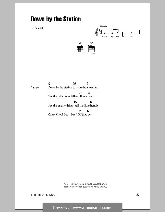 Down By the Station: Lyrics and chords (with chord boxes) by folklore