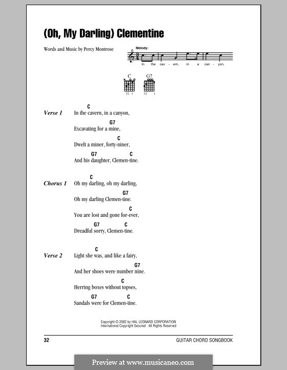 Oh My Darling Clementine By P Montrose Sheet Music On Musicaneo