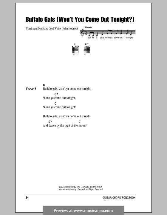 Buffalo Gals: Lyrics and chords (with chord boxes) by John Hodges