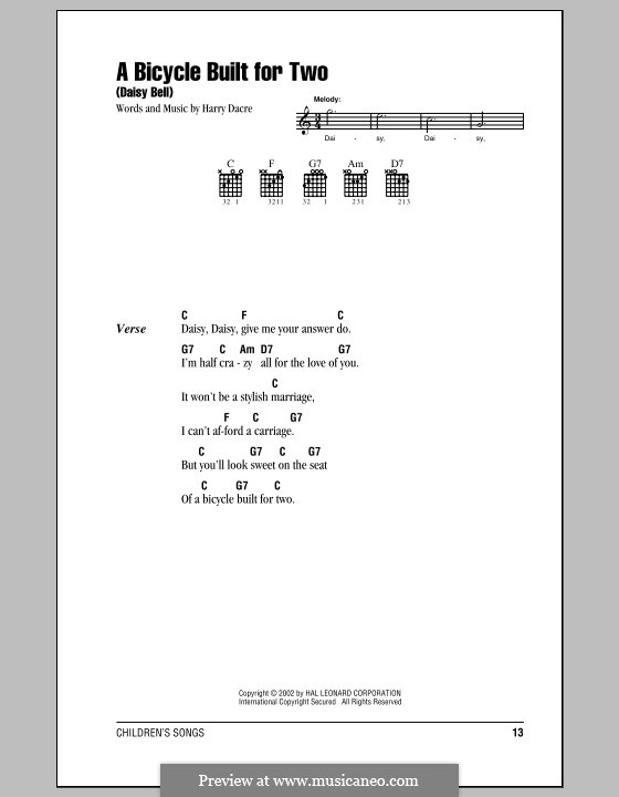 Daisy Bell (Bicycle Built for Two): Lyrics and chords (with chord boxes) by Harry Dacre
