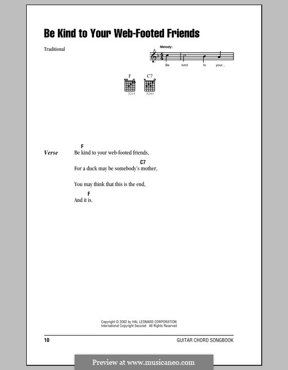 Be Kind to Your Web-Footed Friends: Lyrics and chords (with chord boxes) by folklore