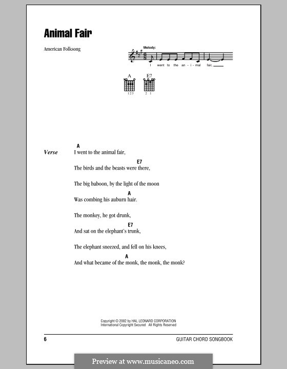 Animal Fair: Lyrics and chords (with chord boxes) by folklore