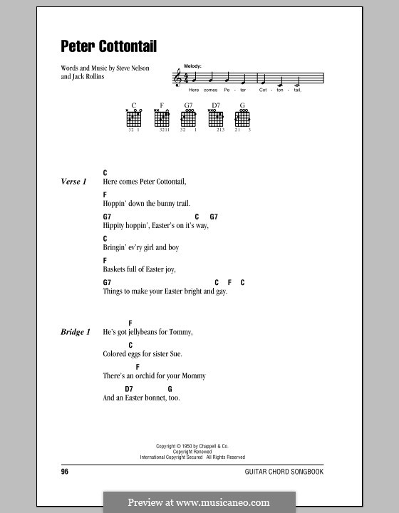 Peter Cottontail: Lyrics and chords by Jack Rollins, Steve Nelson