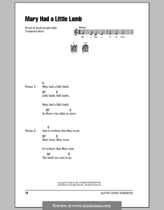 Mary Had a Little Lamb: Lyrics and chords (with chord boxes) by folklore