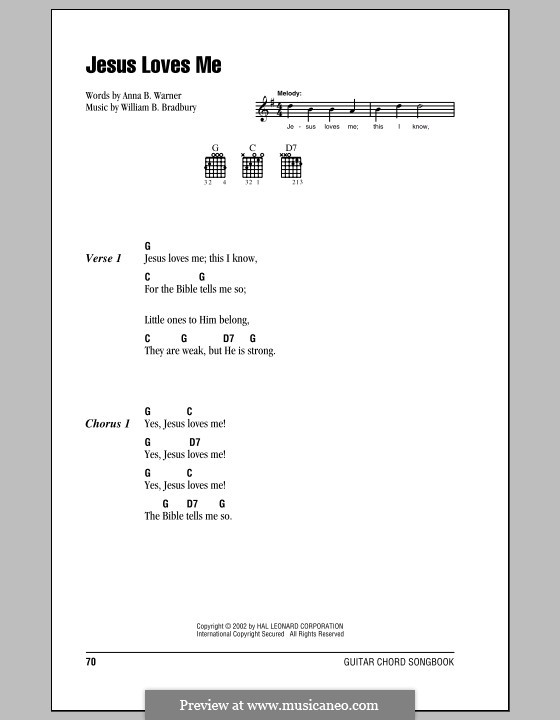 Jesus Loves Me: Lyrics and chords (with chord boxes) by William Batchelder Bradbury