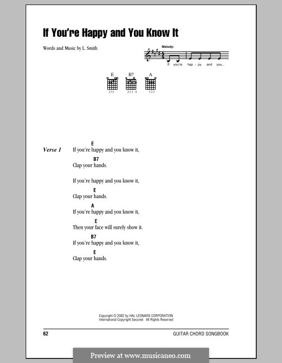 If You're Happy and You Know It: Lyrics and chords (with chord boxes) by Laura Smith