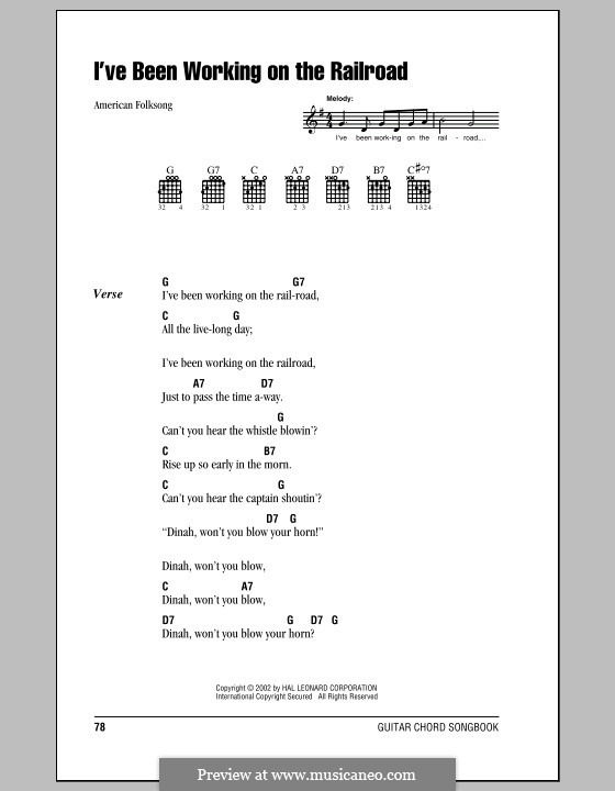 I've Been Working on the Railroad: Lyrics and chords (with chord boxes) by folklore