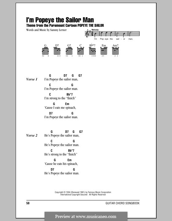I'm Popeye the Sailor Man (from the Paramount Cartoon Popeye the Sailor): Lyrics and chords (with chord boxes) by Sammy Lerner