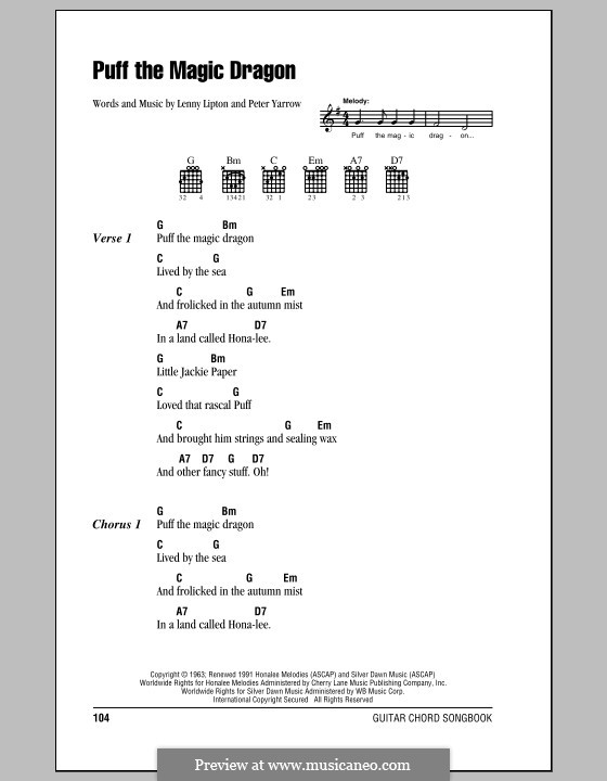 Puff the Magic Dragon (Peter, Paul & Mary): Lyrics and chords (with chord boxes) by Lenny Lipton, Peter Yarrow