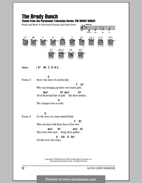 The Brady Bunch: Lyrics and chords (with chord boxes) by Frank Devol
