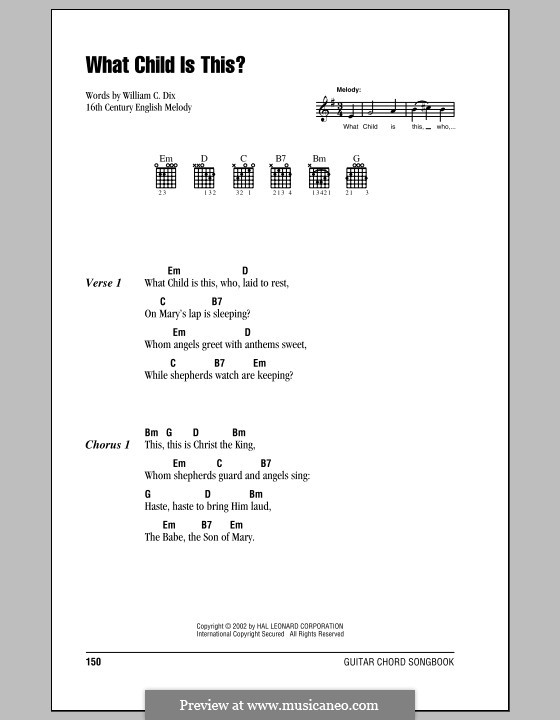 What Child is This (Christmas Carol): Lyrics and chords (with chord boxes) by folklore