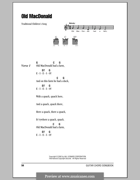 Old MacDonald Had a Farm: Lyrics and chords (with chord boxes) by folklore