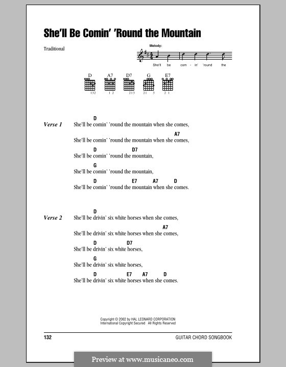 She'll Be Comin' 'Round the Mountain: Lyrics and chords (with chord boxes) by folklore