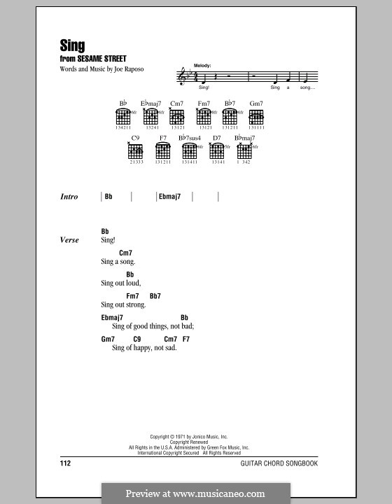Sing (The Carpenters): Lyrics and chords (with chord boxes) by Joe Raposo
