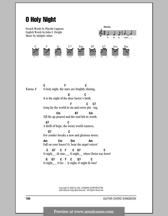 O Holy Night (Printable Scores): Lyrics and chords by Adolphe Adam