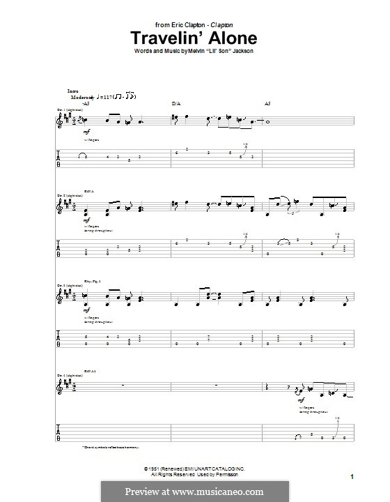 Travelin' Alone (Eric Clapton): For guitar with tab by Lil' Son
