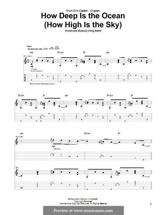 How Deep is the Ocean (How High is the Sky): For guitar with tab by Irving Berlin