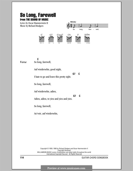 So Long, Farewell (from The Sound of Music): Lyrics and chords (with chord boxes) by Richard Rodgers