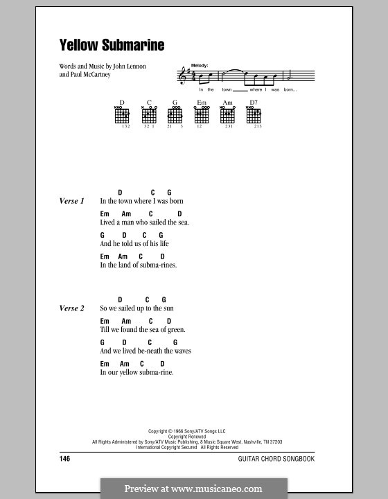 Yellow Submarine (The Beatles): Lyrics and chords (with chord boxes) by John Lennon, Paul McCartney