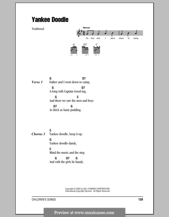 Yankee Doodle: Lyrics and chords (with chord boxes) by folklore