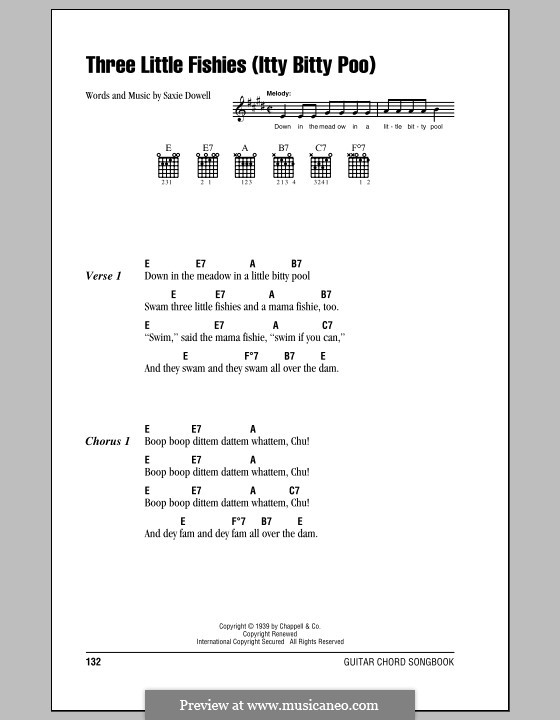 Three Little Fishes: Lyrics and chords (with chord boxes) by Saxie Dowell
