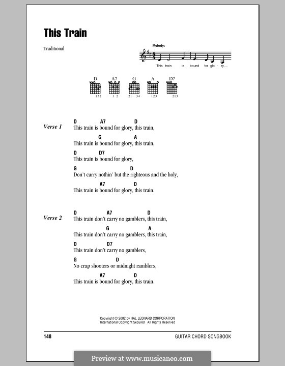 This Train: Lyrics and chords (with chord boxes) by folklore