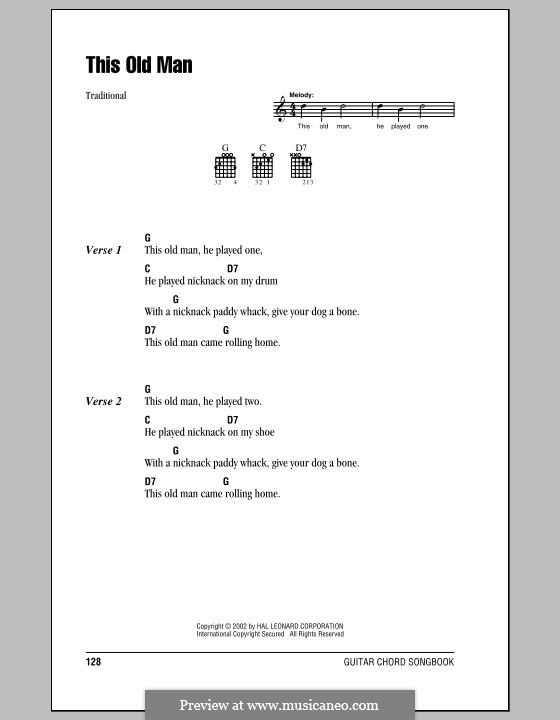 This Old Man by folklore - sheet music on MusicaNeo