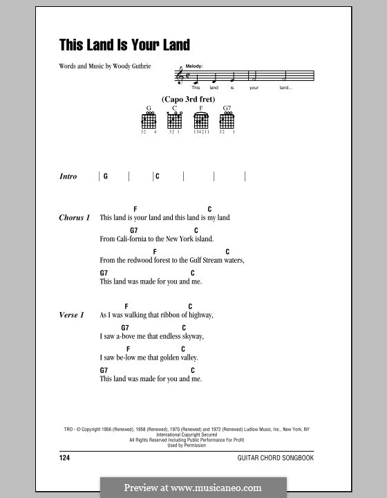 This Land Is Your Land (The New Christy Minstrels): Lyrics and chords (with chord boxes) by Woody Guthrie