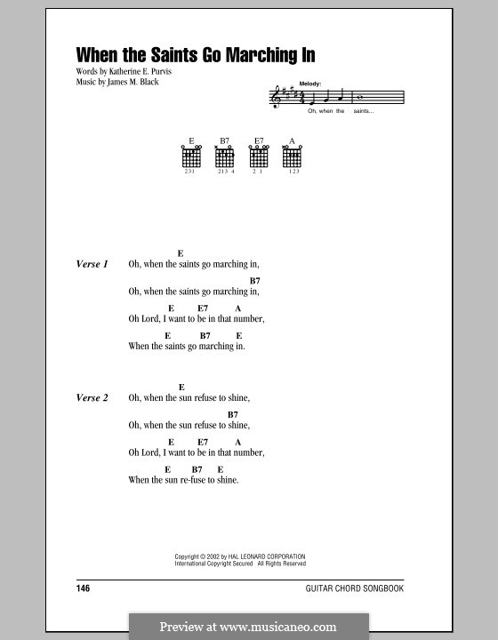 When the Saints Go Marching In: Lyrics and chords (with chord boxes) by James Milton Black