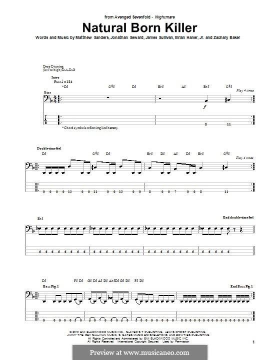Guitar guitar tabs avenged sevenfold : Natural Born Killer (Avenged Sevenfold) by B. Haner Jr., J ...