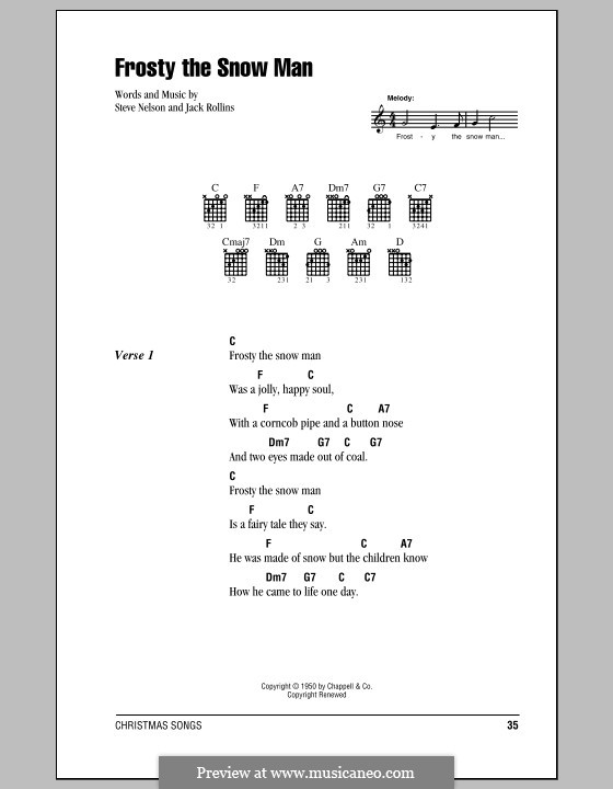Frosty the Snow Man: Lyrics and chords (Gene Autry) by Jack Rollins, Steve Nelson