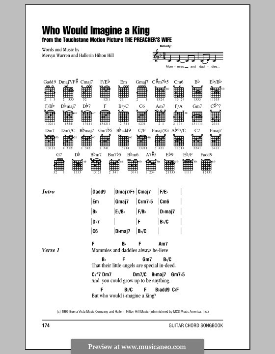 Who Would Imagine a King (Whitney Houston): Lyrics and chords (with chord boxes) by Hallerin Hilton Hill, Mervyn Warren