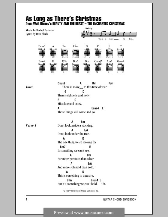 As Long as There's Christmas (Peabo Bryson and Roberta Flack): Lyrics and chords (with chord boxes) by Rachel Portman