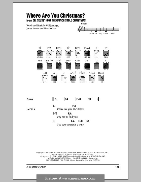 Where Are You Christmas?: Lyrics and chords (with chord boxes) by James Horner, Mariah Carey, Will Jennings