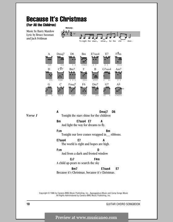 Because It's Christmas (For All the Children): Lyrics and chords (with chord boxes) by Barry Manilow