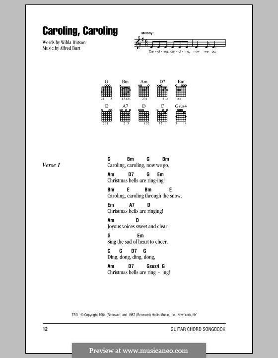 Caroling, Caroling (Nat King Cole): Lyrics and chords (with chord boxes) by Alfred Burt