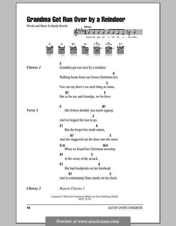 Grandma Got Run Over By a Reindeer by R. Brooks - sheet music on ...