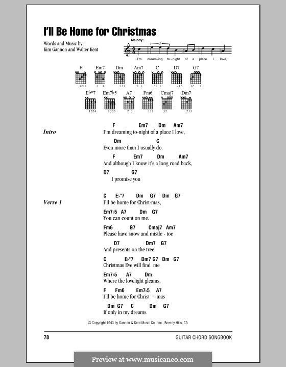 I'll Be Home for Christmas: Lyrics and chords (with chord boxes) by Kim Gannon, Walter Kent