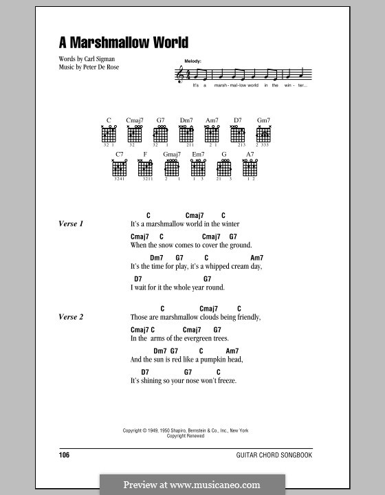 A Marshmallow World: Lyrics and chords (with chord boxes) by Peter de Rose