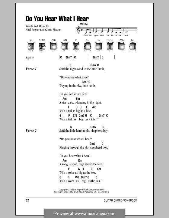 Do You Hear What I Hear: Lyrics and chords (with chord boxes) by Gloria Shayne, Noël Regney