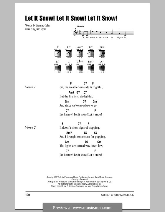 Let It Snow! Let It Snow! Let It Snow!: Lyrics and chords (with chord boxes) by Jule Styne