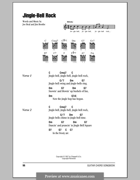 Jingle Bell Rock: Lyrics and chords (with chord boxes) by Jim Boothe, Joe Beal