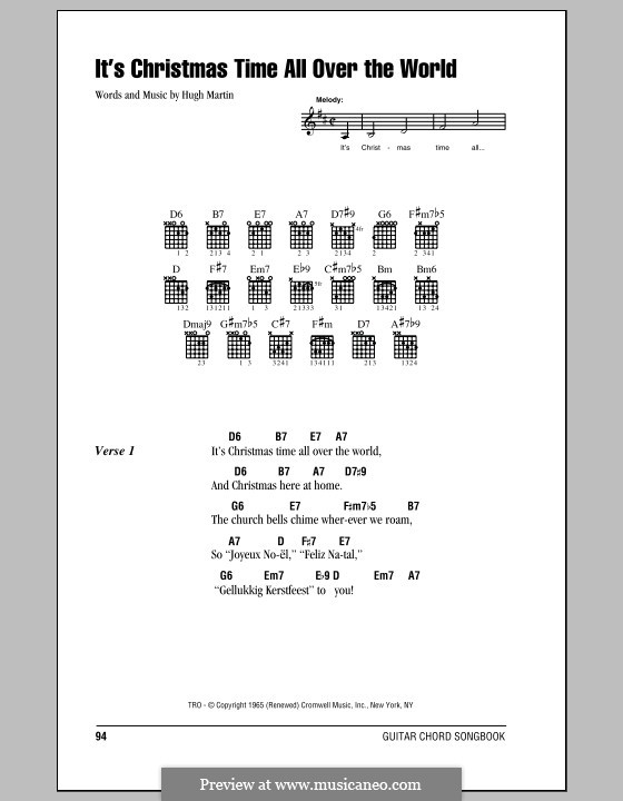 It's Christmas Time All Over the World: Lyrics and chords (with chord boxes) by Hugh Martin