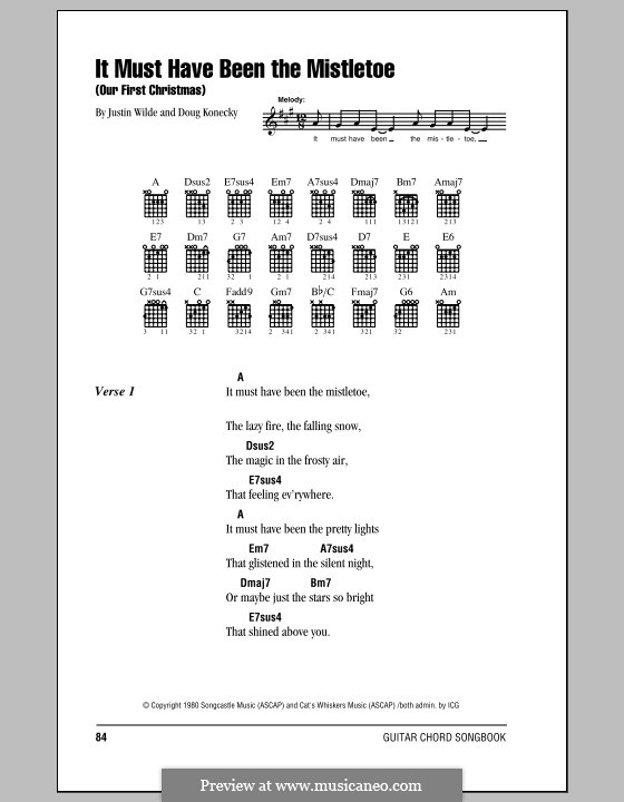 It Must Have Been the Mistletoe (Our First Christmas): Lyrics and chords with chord boxes (Barbara Mandrell) by Doug Konecky, Justin Wilde