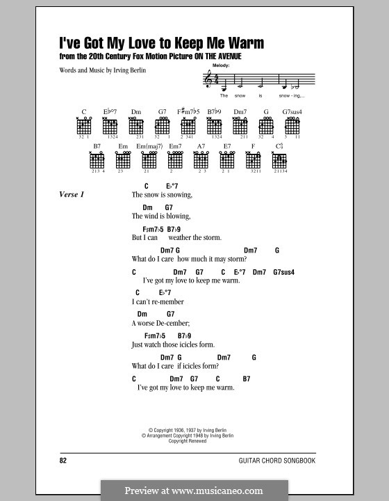 I've Got My Love to Keep Me Warm (Frank Sinatra): Lyrics and chords (with chord boxes) by Irving Berlin
