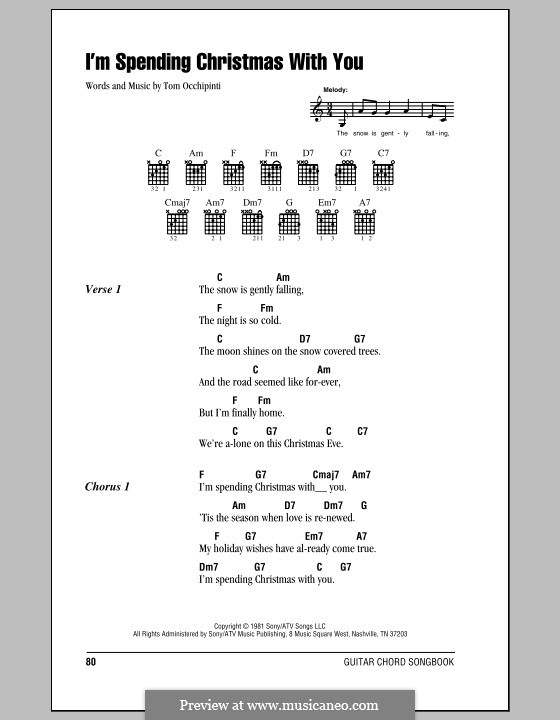 I'm Spending Christmas with You: Lyrics and chords (with chord boxes) by Tom Occhipinti