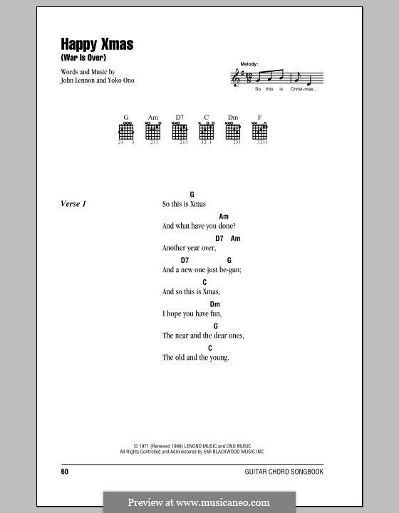 Happy Xmas (War Is Over): Lyrics and chords (with chord boxes) by John Lennon, Yoko Ono