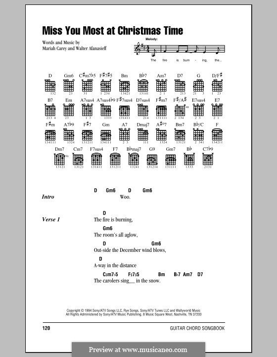 Miss You Most at Christmas Time (Mariah Carey): Lyrics and chords (with chord boxes) by Walter Afanasieff