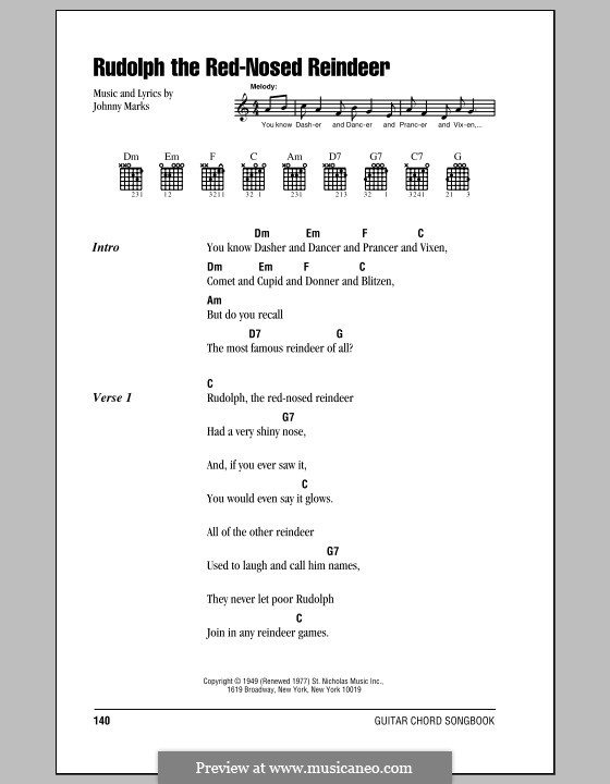 Rudolph the Red-Nosed Reindeer: Lyrics and chords (with chord boxes) by Johnny Marks